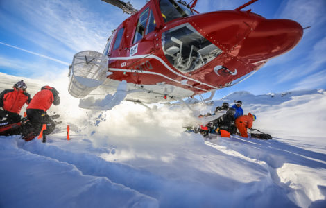 Skiing at TLH heliskiing in British Columbia, Canada