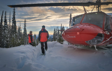Skiing at TLH heliskiing in British Columbia, Canada