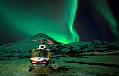 heliski island, aurore boréal