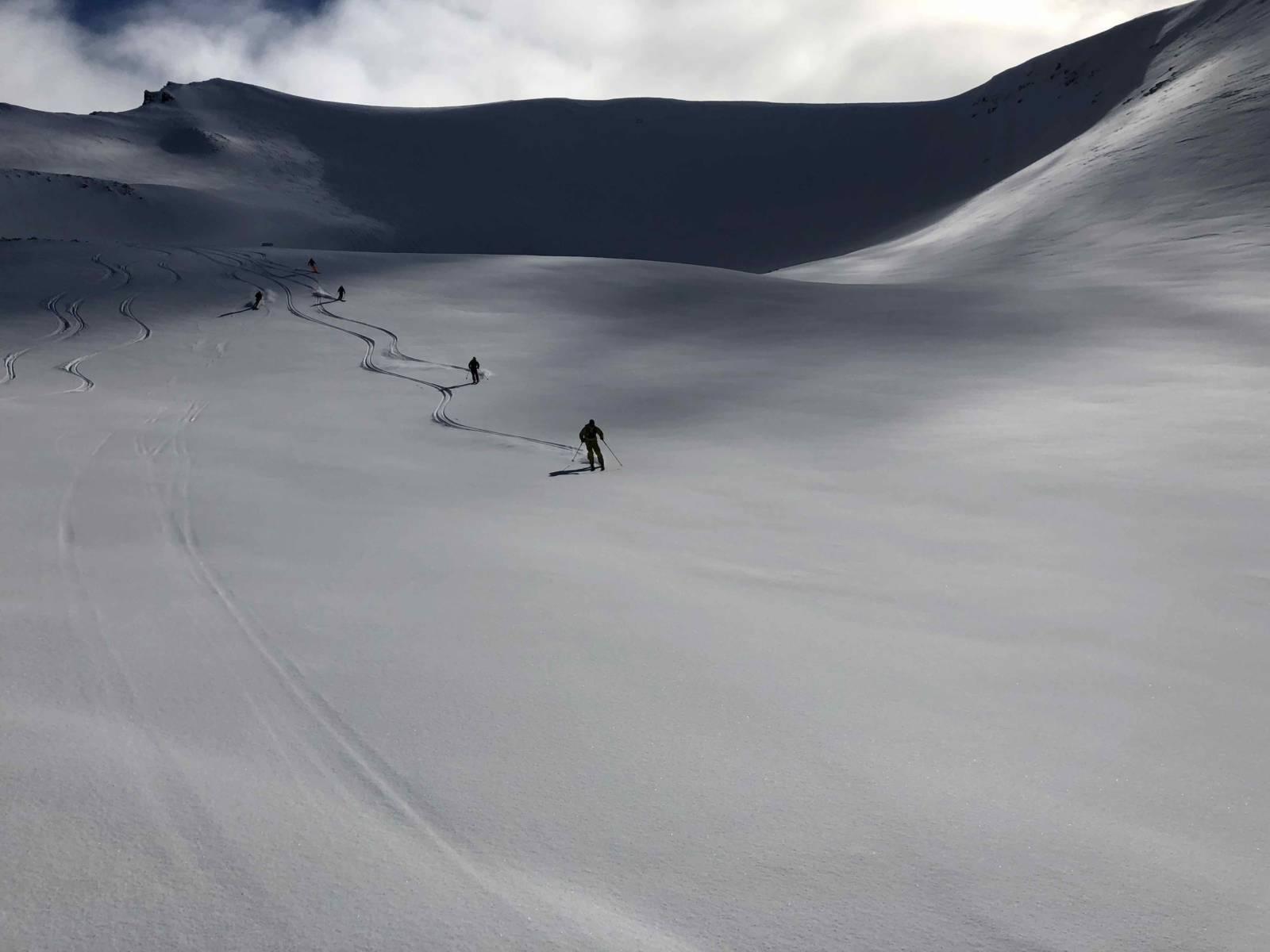 heliski island , champ de neige poudreuse